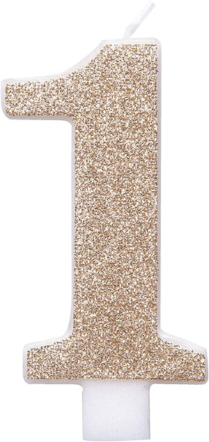 Glitz Rose Gold Number Birthday Candles