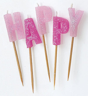"Pink Glitter ""Happy Birthday"" Letter Pick Candles"