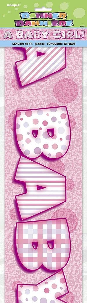 """A Baby Girl!"" Shower Banner - 12ft"