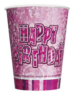 "Glitz Pink ""Happy Birthday"" Party Cups"
