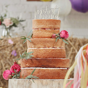 Just Married Wooden Cake Topper - Boho