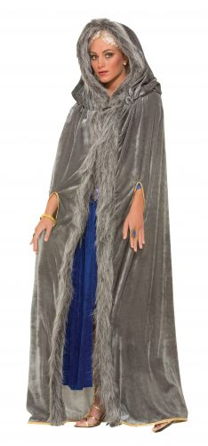 Faux Fur Trimmed Cape - Grey