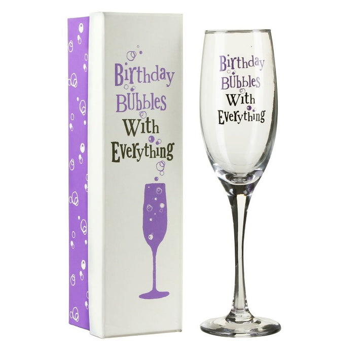 """Birthday Bubbles With Everything"" Champagne Flute"