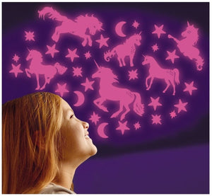Glitter Glow Unicorns, Moon and Stars (Pink)