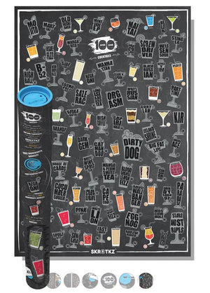 101 Best Cocktails of All Time Scratch Poster