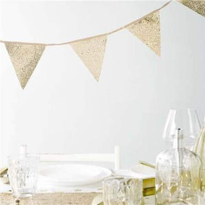 Luxe Gold Glitter Party Hanging Bunting - 3 metres