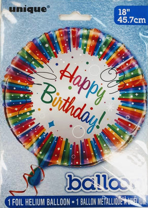 """Happy Birthday"" Rainbow Ribbon Helium Foil Balloon - 18"""