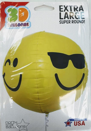 Smiley Face Shape Sphere Helium Foil Balloon - 17″