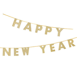 "Luxe Gold ""Happy New Year"" Glitter Garland - 3 metres"