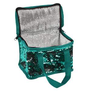 Green & Silver Reversible Sequin Cooler Bag