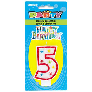 Glittery Number Candles & Happy Birthday Cake Decoration