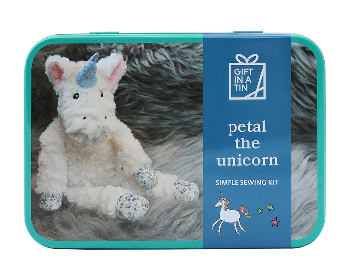 Gift In A  Tin - Petal the Unicorn, Simple Sewing Kit