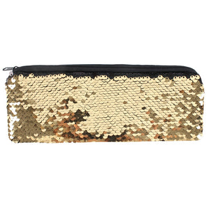 Black & Gold Reversible Sequin Pencil Case