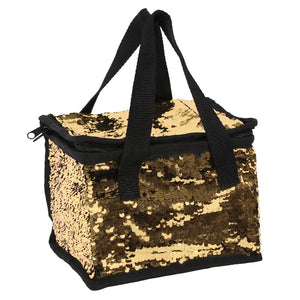 Black & Gold Reversible Sequin Cooler Bag
