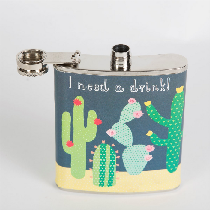 "Colourful Cactus ""I Need a Drink"" Hip Flask"
