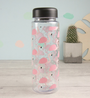 Tropical Flamingo Clear Reusable Water Bottle