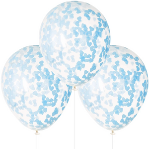 Clear Balloon With Blue Heart Confetti