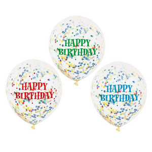 Birthday Balloons With Bright Confetti