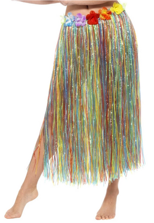 Hawaiian Hula Skirt with Flowers - Multi-Coloured
