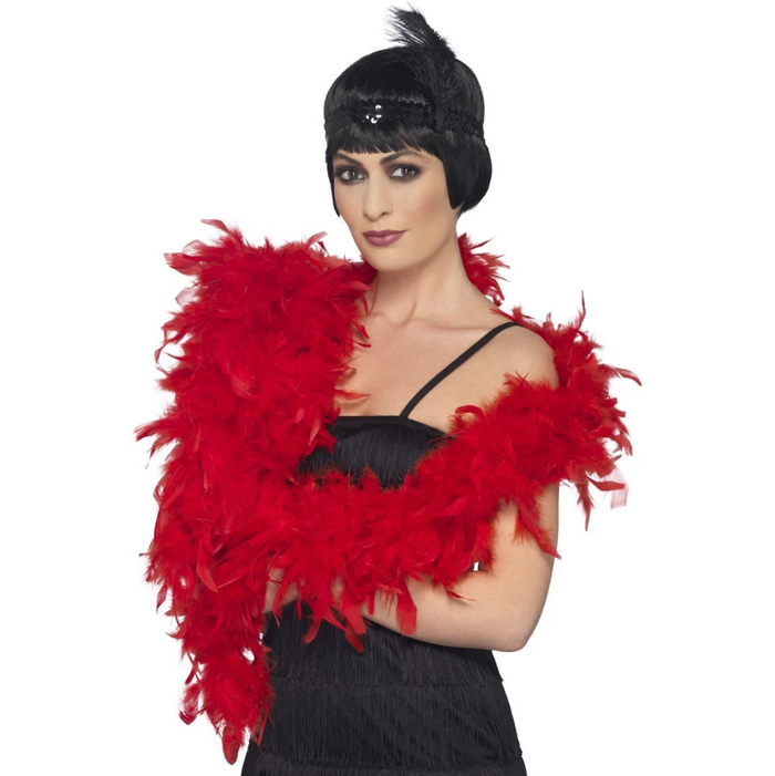 Deluxe Feather Boa, 80g - Red