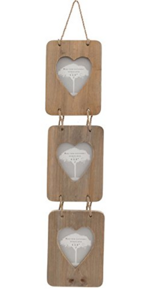 Driftwood Triple Photo Frame With Heart