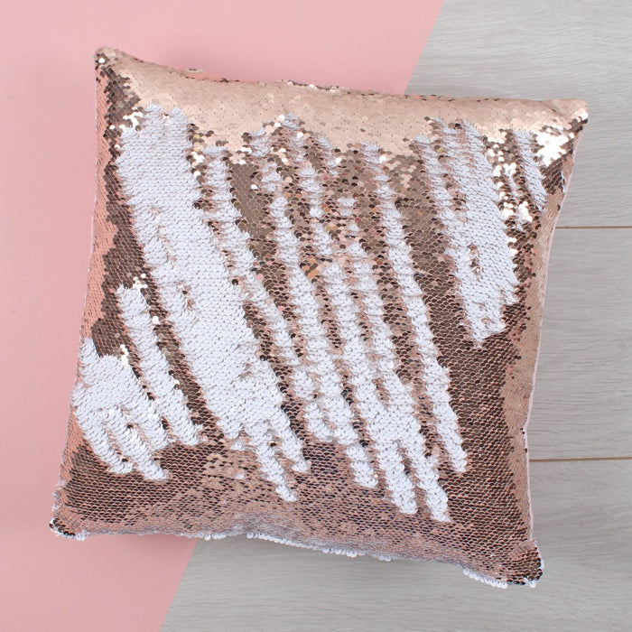 Rose Gold & White Reversible Sequin Filled Cushion