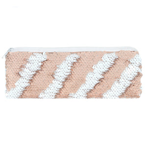 Rose Gold & White Reversible Sequin Pencil Case