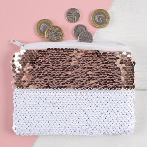 Rose Gold & White Reversible Sequin Purse