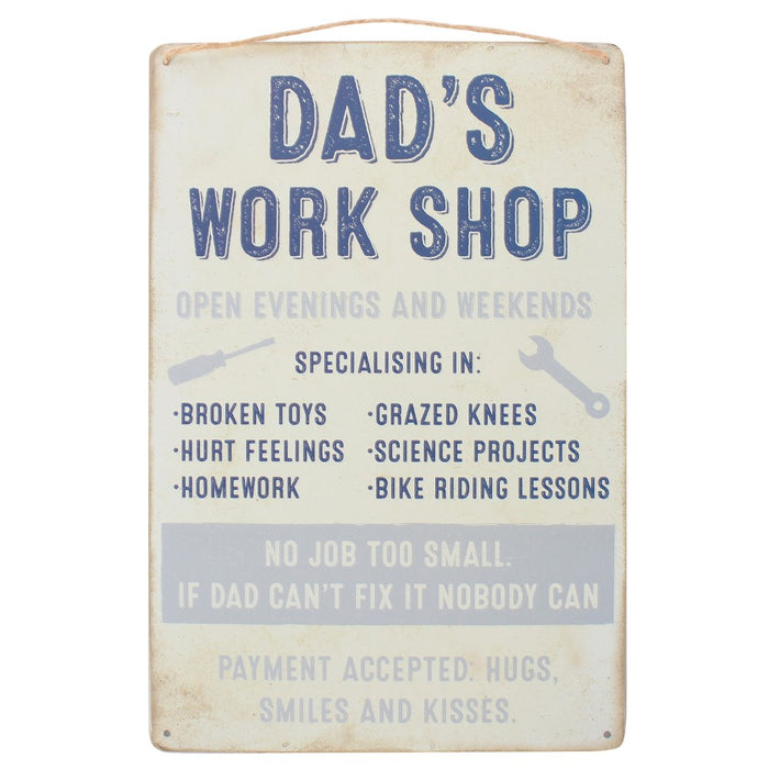 """Dad's Work Shop"" Hanging Sign"