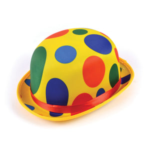 Polka Dot Clown Bowler Hat