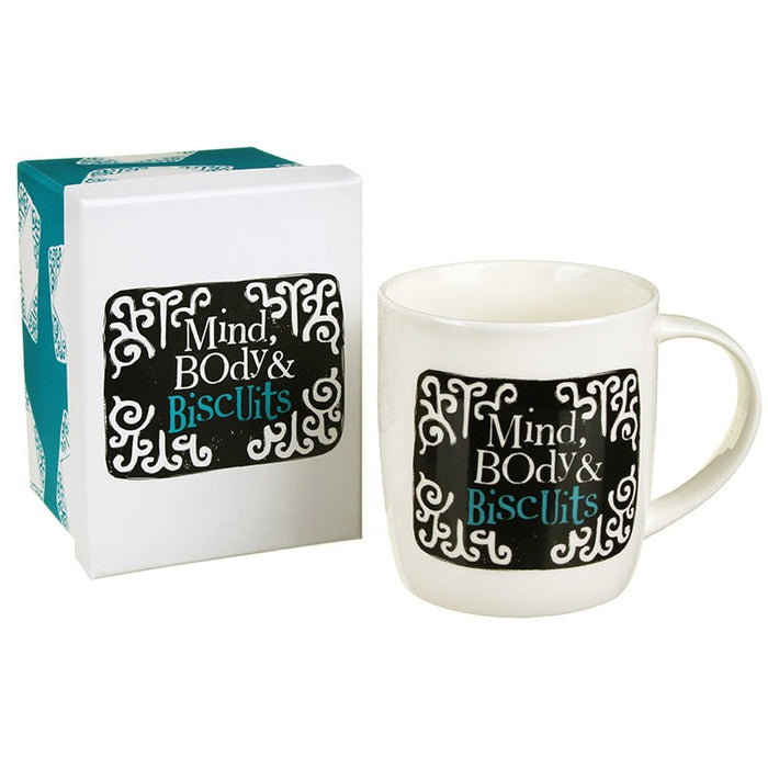"""Mind Body And Biscuits"" Mug"