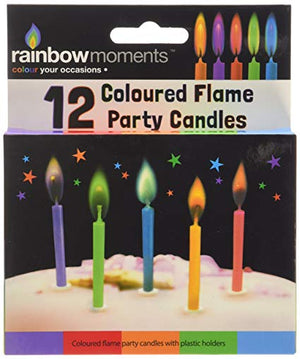 12 Coloured Flame Party Candle