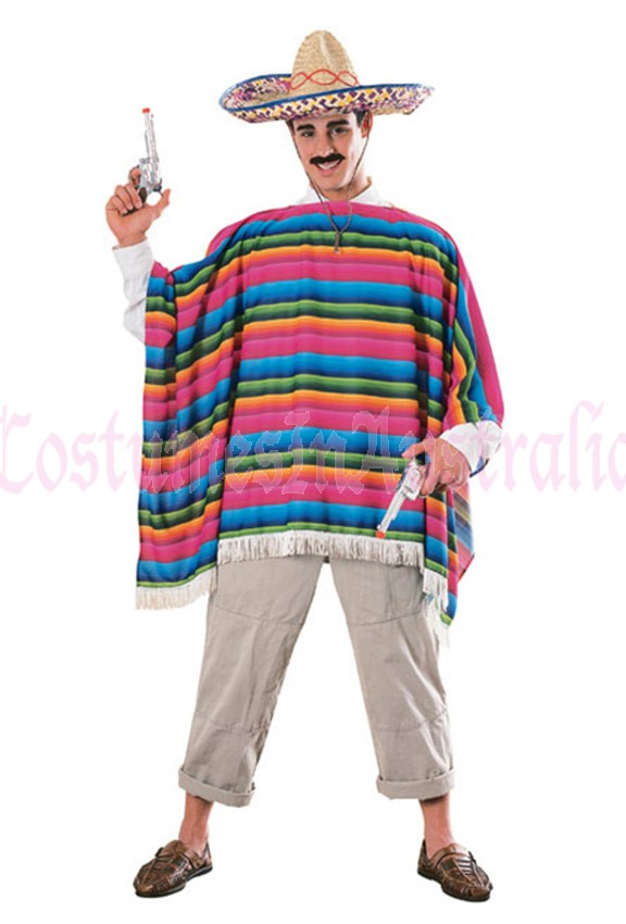 Mexican Serape (Poncho) And Hat - (Adult)
