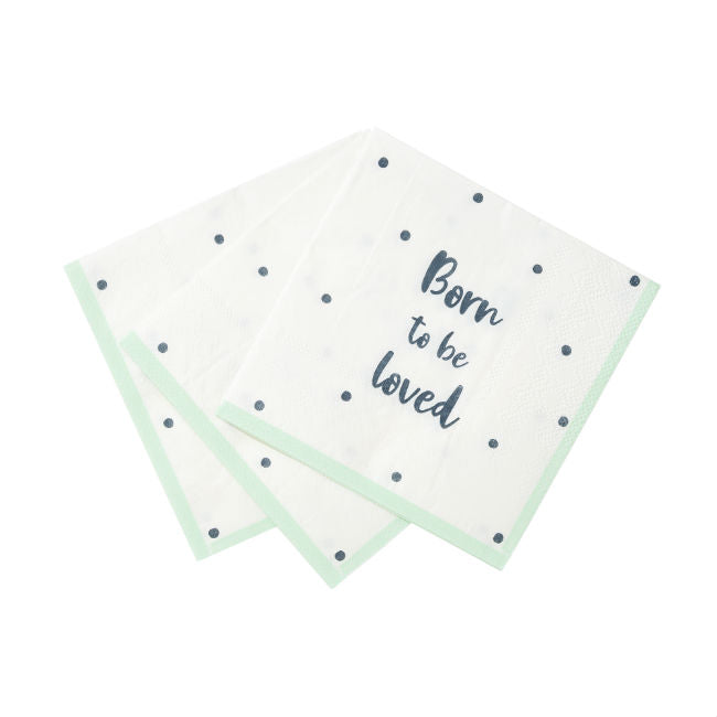 "New Baby Welcome ""Born To Be Loved"" Paper Napkin"