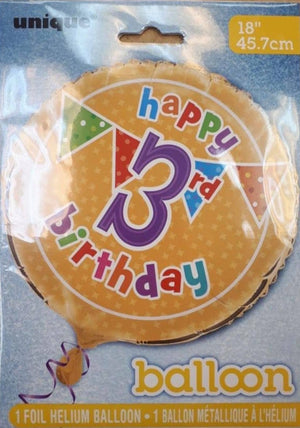 "Polka Dot ""Happy 3rd Birthday"" Helium Foil Balloon - 18"""