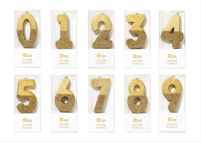 Gold Glitter Number Birthday Candles