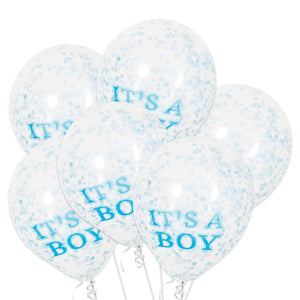 """Its A Boy"" Balloons With Blue Confetti"