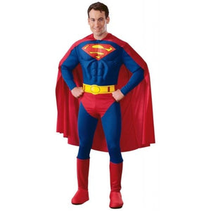 Deluxe Superman With Muscle Chest Costume - (Adult)