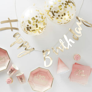 Pink Foiled Ombre Complete Party In A Box - Party In A Box