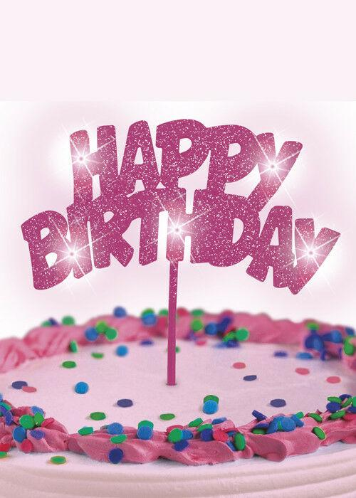 "Pink ""Happy Birthday"" Flashing Cake Decoration"