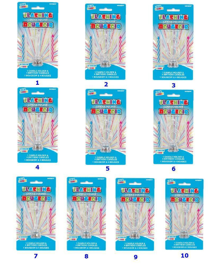 Multicolour Flashing Number Cake Topper & Birthday Candle - (1-0)
