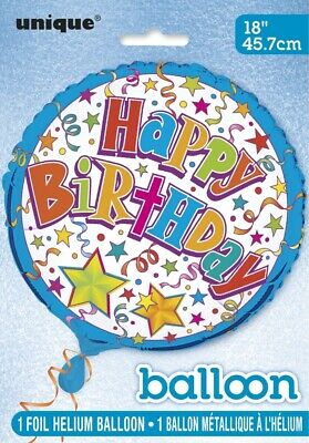 """Happy Birthday"" With Stars And Confetti Helium Foil Balloon - 18"""