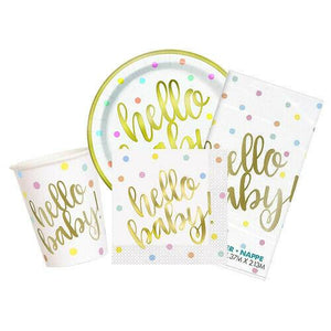 """Hello Baby"" Gold Foil Baby Shower - Blue Confetti Cannon"