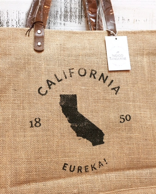 """ CA "" Market Tote Bag with Leather Handles"
