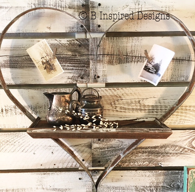 Wine Barrel Heart Shelf