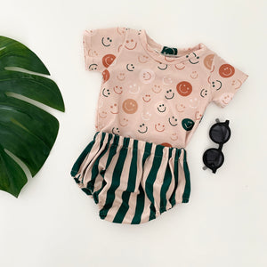 Snazzy Green Striped Baby Bloomers