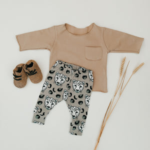 Grey Leopard Heads Child and Baby Leggings