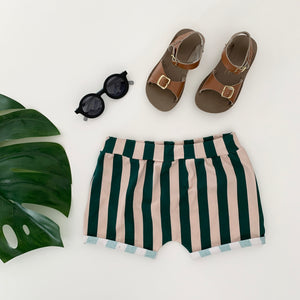 Snazzy Green Striped Children's Shorts