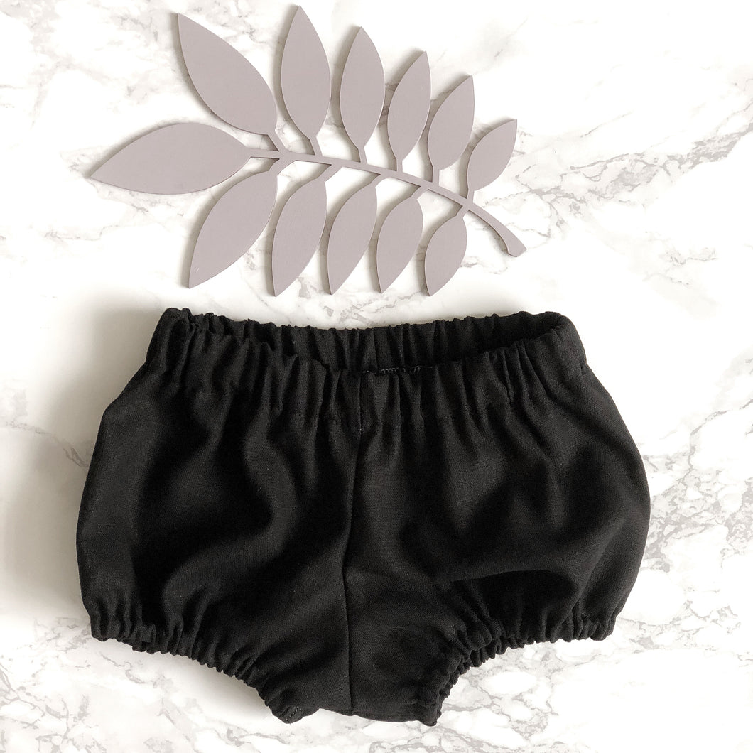 Black Cotton Baby Bloomers