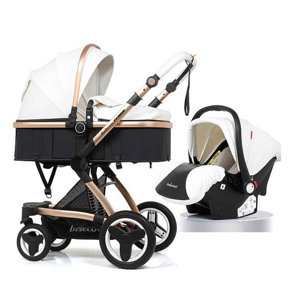 Luxury Baby Stroller 3 In 1 High Landscape Pram And Car Seat